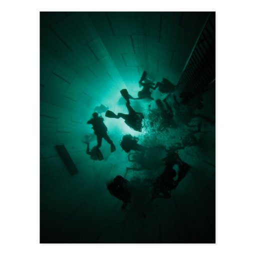 Divers in a tunnel postcards