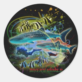 diver's world classic round sticker