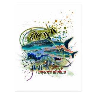 diver's world postcard