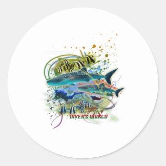 diver's world round sticker
