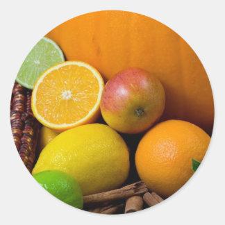 Diversas frutas pegatina redonda