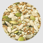 Diversas semillas comestibles etiqueta redonda