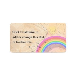 Diversas texturas con el arco iris colorido y etiquetas de dirección