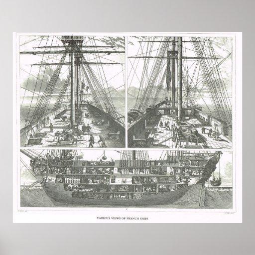 Diversas vistas de naves francesas impresiones