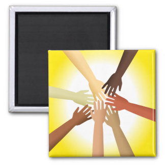 Diverse Hands 2 Inch Square Magnet