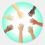 Diverse Hands Round Sticker