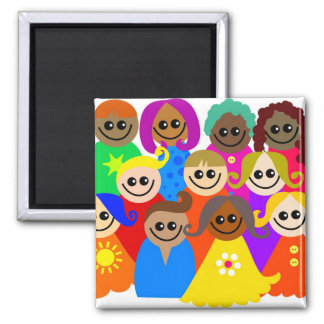 Diverse Kids 2 Inch Square Magnet