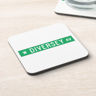 Diversey Avenue, Chicago, IL Street Sign Beverage Coaster