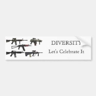 Diversidad del arma pegatina de parachoque