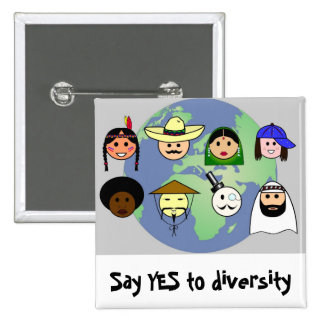 Diversidad del racismo anti mundial de la gente pin cuadrado