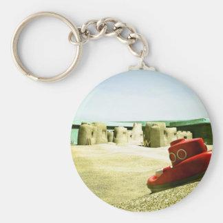 Diversión 06 de la caja de la arena del verano llavero redondo tipo pin