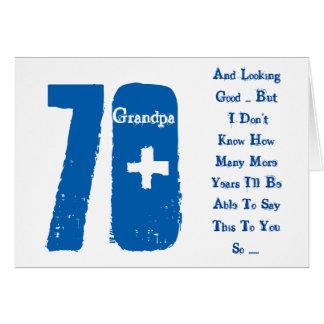 Diversión, 70.o texto del cumpleaños, del abuelo, tarjeta de felicitación