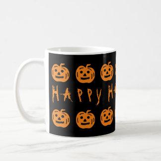 Diversión anaranjada negra fantasmagórica de las taza básica blanca