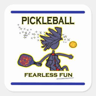 Diversión audaz de Pickleball Pegatina Cuadradas