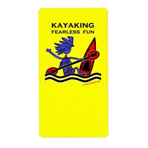 Diversión audaz Kayaking Etiquetas De Envío