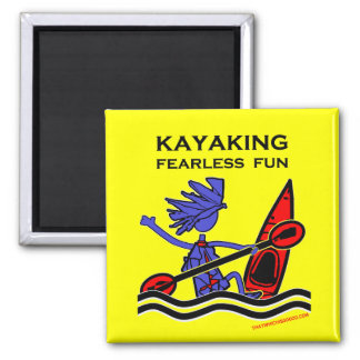 Diversión audaz Kayaking Imán Cuadrado