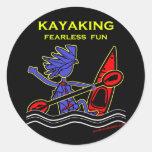 Diversión audaz Kayaking Pegatina Redonda