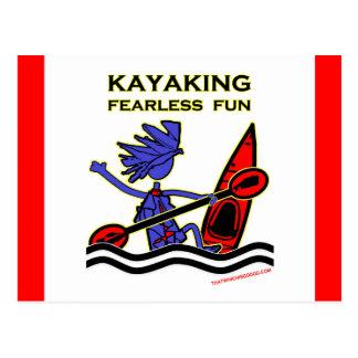Diversión audaz Kayaking Postal