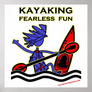 Diversión audaz Kayaking Póster
