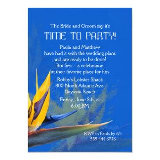 Diversión azul de la ave del paraíso que dice la invitación 11,4 x 15,8 cm