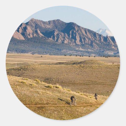 Diversión Biking de la montaña de Colorado Pegatina Redonda