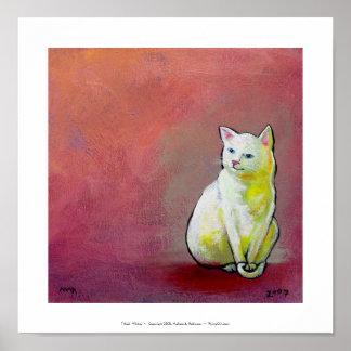 Diversión blanca del arte del gato que pinta el bo posters