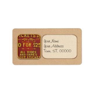 Diversión - boletos 3 dólares etiquetas de dirección