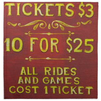 Diversión - boletos 3 dólares servilleta imprimida