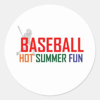 Diversión caliente del verano del béisbol pegatina redonda