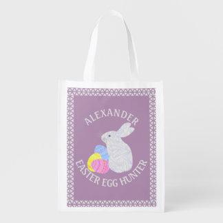 Diversión colorida blanca del conejo de los huevos bolsas de la compra