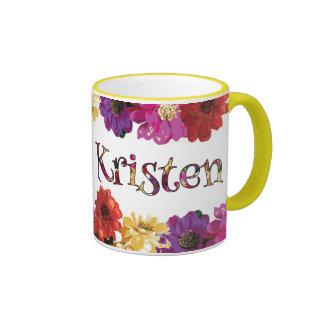 Diversión colorida de Kristen floral Taza De Dos Colores