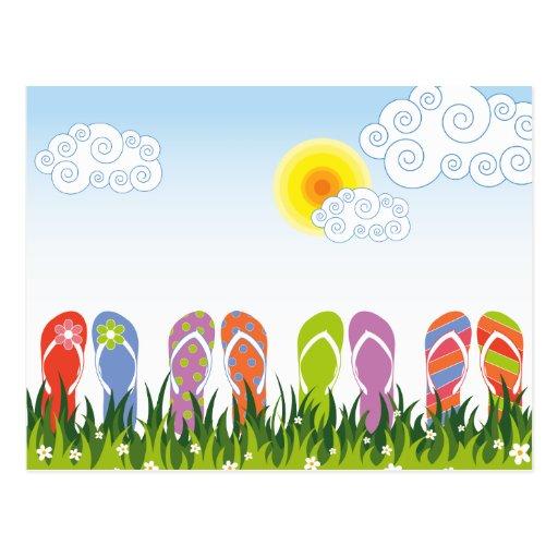 Diversión colorida de los flips-flopes del verano