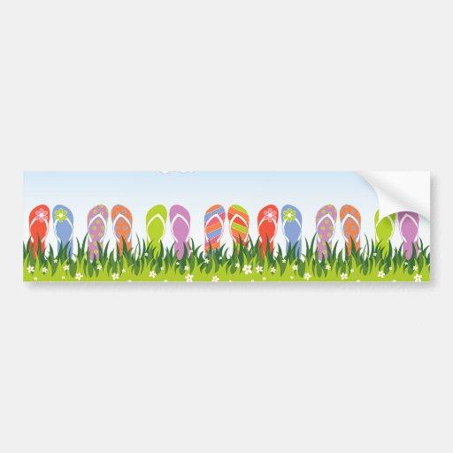 Diversión colorida de los flips-flopes del verano  etiqueta de parachoque