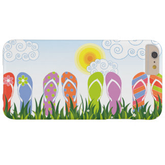 Diversión colorida de los flips-flopes del verano funda de iPhone 6 plus barely there