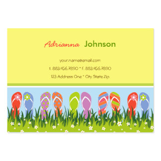 Diversión colorida de los flips-flopes del verano tarjetas de visita grandes