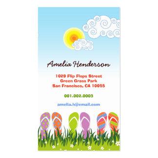 Diversión colorida de los flips-flopes del verano tarjetas de visita