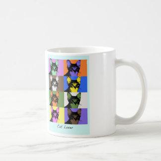 diversión colorida del amante del gato del arte taza básica blanca