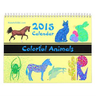 Diversión colorida del calendario de los animales