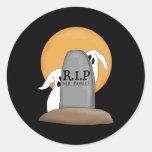 Diversión de Halloween de los fantasmas de R.I.P Etiqueta Redonda