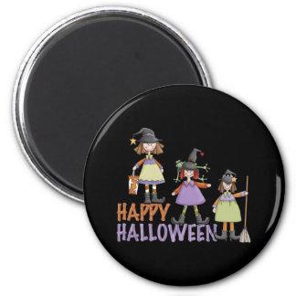 Diversión de Halloween de tres pequeña brujas Imán Redondo 5 Cm