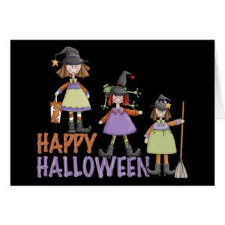 Diversión de Halloween de tres pequeña brujas Tarjeton