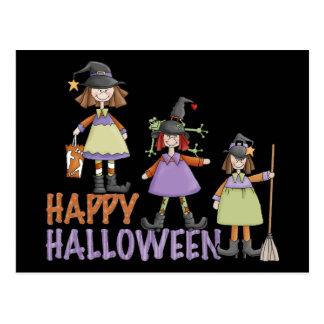 Diversión de Halloween de tres pequeña brujas Postal