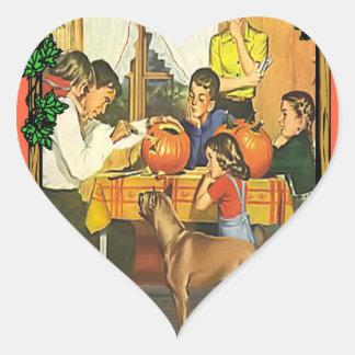 Diversión de la familia en Halloween Pegatina En Forma De Corazón
