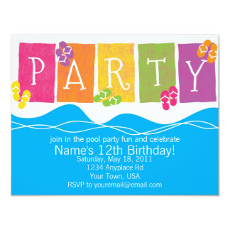 """Diversión de la fiesta en la piscina invitación 4.25"""" x 5.5"""""""