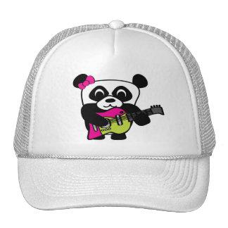 Diversión de la guitarra de la panda del chica gorras