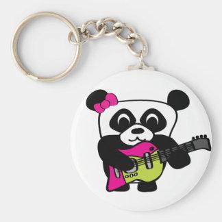 Diversión de la guitarra de la panda del chica llaveros personalizados