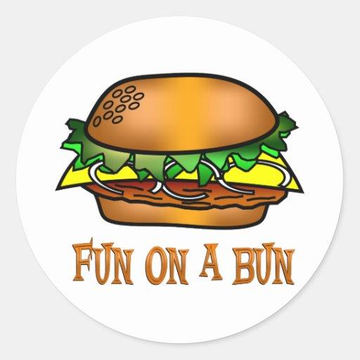 Diversión de la hamburguesa pegatina redonda