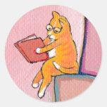 Diversión de la lectura del arte del gato - la mer pegatinas