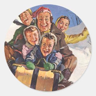 Diversión de la nieve del navidad del trineo pegatina redonda