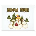 Diversión de la nieve dos camisetas y regalos invitación 10,8 x 13,9 cm